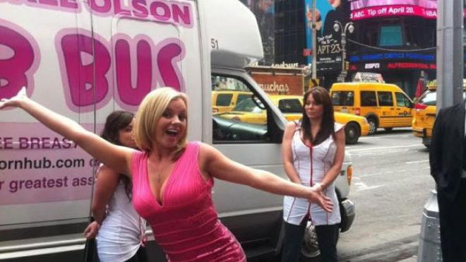 AmazingDancers.com, PornHub.com and Pornstar Bree Olson TEAM UP FOR BREAST CANCER AWARENESS!!   Pornstar Bree Olson, who is also the ex-girlfriend of Charlie Sheen, used her assets to raise awareness for breast cancer by hosting a breast exam bus tour around New York City on Tuesday April 24th 2012